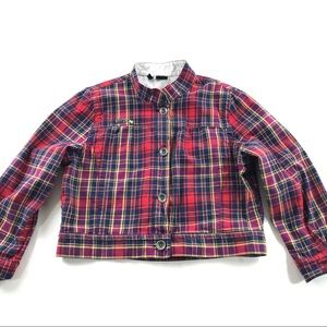 Hurley Red Plaid Cropped Jacket XL Juniors